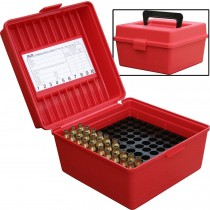 MTM 100 Round Deluxe Rifle Ammunition Box R-100 Red R-100-30